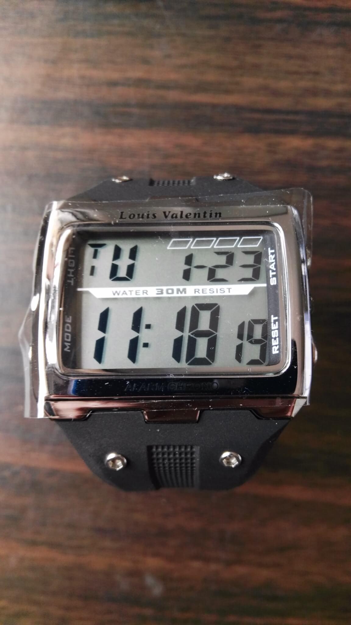 97abb95e780b Reloj digital de hombre (plateado y rectangular). - RELOJILANDIA